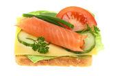 Skålar med lax grönsaker. — Stockfoto