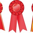 Stock Vector: Three red award ribbons