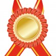 Stock Vector: Gold medal with red ribbon