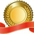 Stock Vector: Gold medal and red ribbon