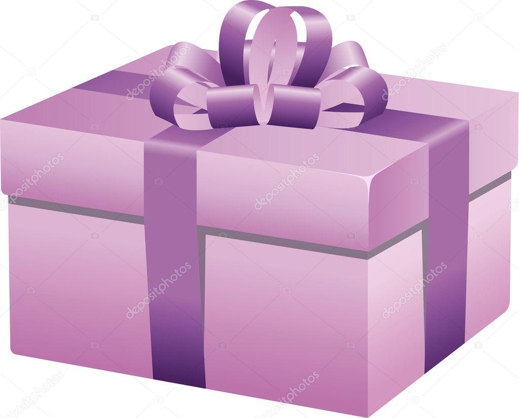 粉红色的礼盒.矢量插画
