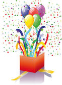 Open surprise gift with balloons — Stock Vector