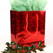 Red Christmas Gift Bag with Holly — Stock Photo
