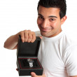 Man or salesman advertising a wristwatch — Stock Photo