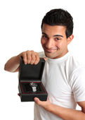 Man or salesman advertising a wristwatch — Stok fotoğraf