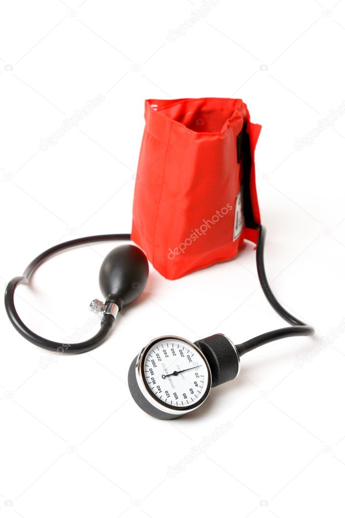 A sphygmomanometer otherwise known as a bp cuff.  Focus to dial — Stock Photo #2784752