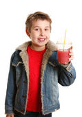 Happy healthy boy fresh fruit juice — Stock Photo