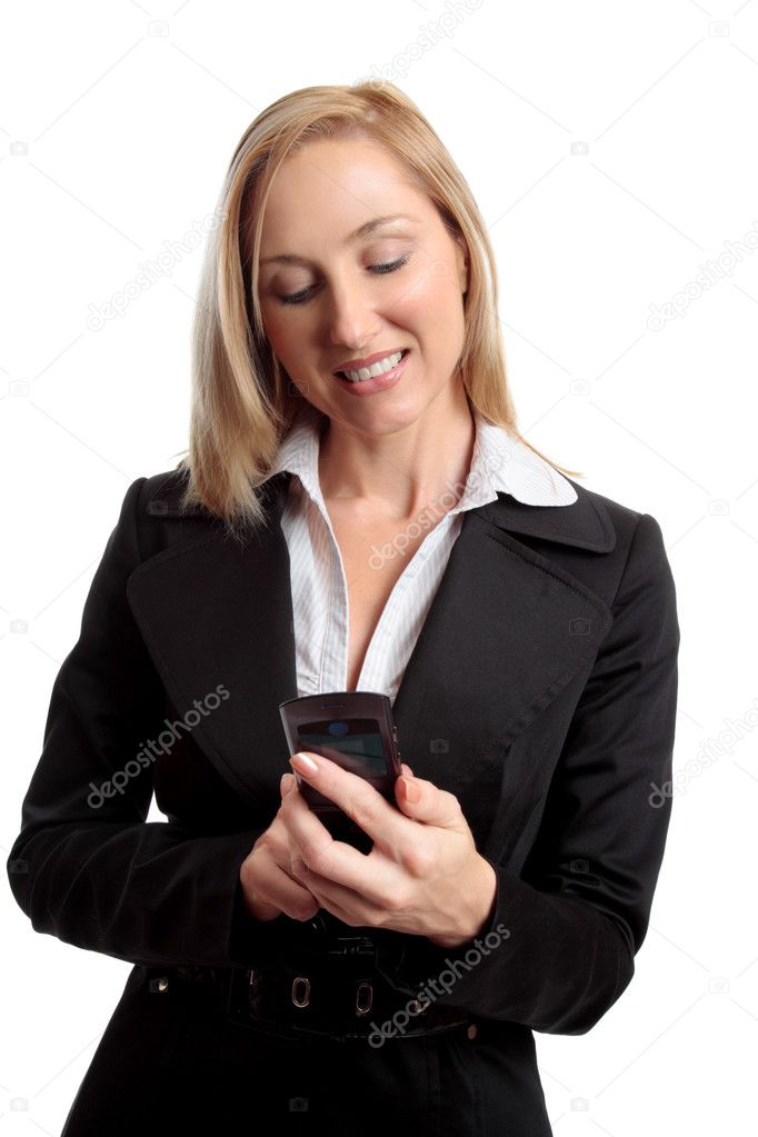 Female using a mobile phone eg making a call or sending or receiving a sms or mms message. — Stock Photo #2798331