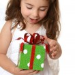 Little girl christmas or other present — Stock Photo