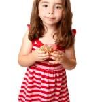 Beautiful girl with sweet doughnut — Stock Photo #2808362