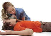 Resuscitating unconscious boy — Stock Photo