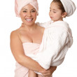 Mother and daughter body care — Stock Photo