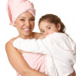 Mother and child at bathtime — Stock Photo