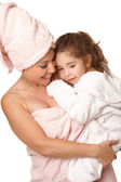 Doting mother and daughter bathtime — Stock Photo