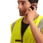 Tradesman handyman on the phone — Stock Photo