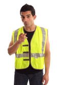 Construction worker pointing his finger — Stock Photo