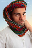 Arab Man in traditional turban keffiyeh — Stock Photo