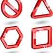 3d red glass signs — Stock Vector