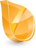 3d glass leaf — Stock Vector