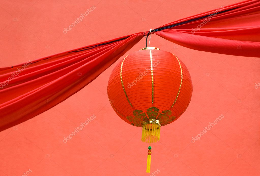 An chinese lantern against a red background — Stock Photo #2811559