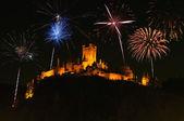 Fireworks above cochem castle — Stock Photo
