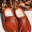 Brown wooden shoes - Stockfoto