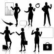 Business Women Silhouettes Set — Image vectorielle