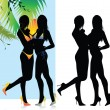 Beautiful bikini girls silhouette — Stock Vector
