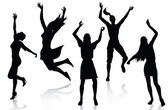 Happy active women silhouettes — Stock Vector