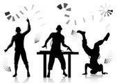 Dj ve clubber silhouettes — Stok Vektör