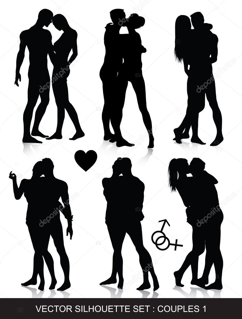 Vector silhouettes of couples   Stock Vector #3679586