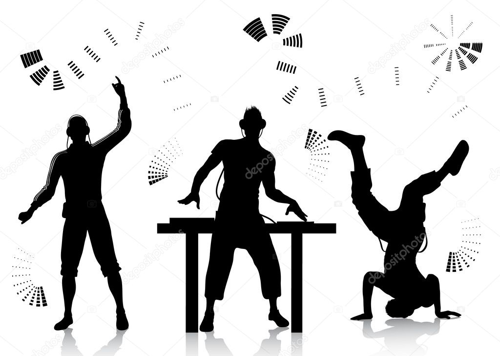 Vector silhouettes of dj and dancer — Stock Vector #3679752