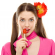 Lollipop girl sweet candy isolated — Stock Photo