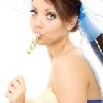 Lollipop girl sweet candy isolated — Stock Photo