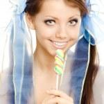 Lollipop girl zoete suikergoed geïsoleerd — Stockfoto