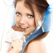 Stock Photo: Pigtails girl with chocolate enjoy
