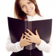 Young businesswoman with book — Stock Photo
