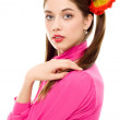 Stock Photo: Young woman with pigtails