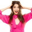 Happy woman smile pink dress — Stock Photo