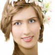 Stock Photo: Young woman flower garland smile