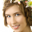 Young woman flower garland smile — Stock Photo