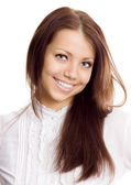 Young woman in white shirt smile — Stock Photo