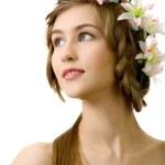 Beautyful woman flower white background — Stock Photo