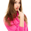 Beautiful woman finger mouth - Stock Photo