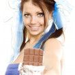 Pigtails girl suggest chocolate — Stockfoto