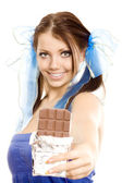 Pigtails girl suggest chocolate — Stock Photo