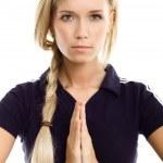 Yoga sport beautiful woman meditation isolated — Stock Photo #3248543