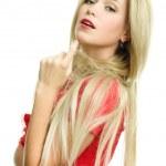 Beautiful blonde woman portrait on white background — Stock Photo #3248544