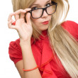 Stock Photo: Beautiful secretary woman glasses isolated