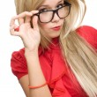Stock Photo: Beautiful secretary womglasses isolated